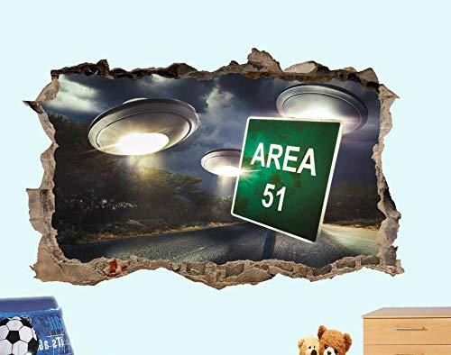 Área 51 Logo Alien Retro Adhesivo de pared 3D Art Poster Mural-50CM x 70CM
