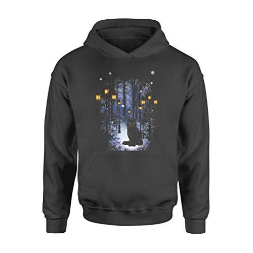 Black Cat Light Snowy Garden Meowy Christmas Kitten Funny Xmas Hoodie