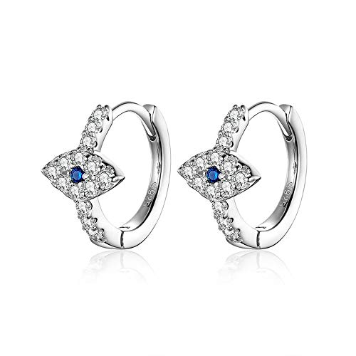 Authentic 925 Sterling Silver Jewelry Bright Eye Hoop Earrings for Women Clear Sparkling CZ