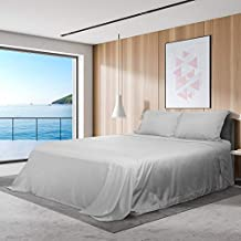 Bed Sheets Set 4 Piece 1800 Thread Count Microfiber Wrinkle, Fade, Stain Resistant Bed Sheet Set, 1 Flat Sheet, 1 Fitted Sheet, 2 Pillowcases, (Gray, Queen)