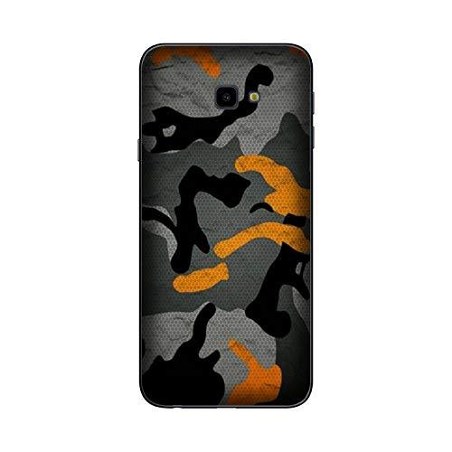Funda Galaxy J4+   J4 Plus Carcasa Samsung Galaxy J4+   J4 Plus Militare Mimetica Camuflaje Ejército Militar Naranja gris / Cubierta Imprimir también en los lados / Cover Antideslizante Antideslizan