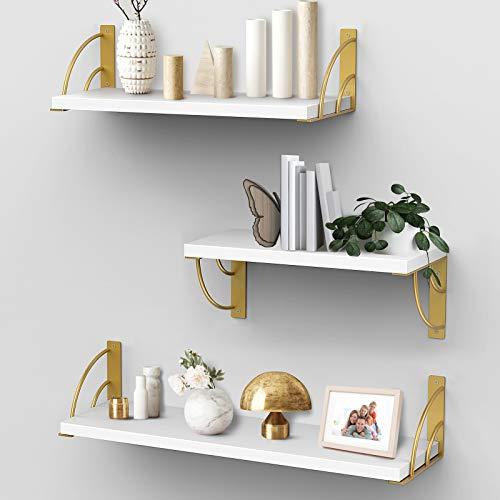 White Floating Shelves for Wall,Wall Shelves with Camber Golden Metal Brackets-White Shelves Set of 3 for Bedroom Bathroom Living Room Kitchen