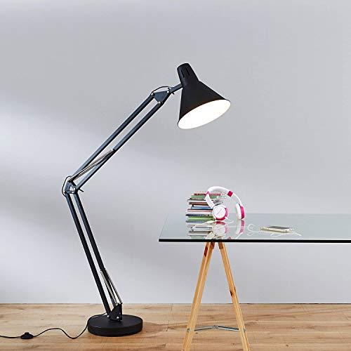 Moderne Standleuchte, XXL Schreibtischleuchte, 1x E27 max. 60W, Metall, schwarz