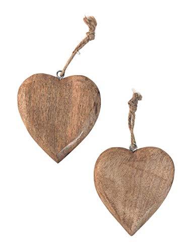 Marzoon 2X Holz Anhänger Herz je 10 x 9,5 cm, Massiv Holzherzen zum Hängen Holz-Deko Mitbringsel Hochzeitsdeko Raumdeko