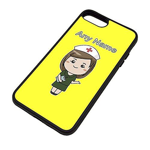 UNIGIFT gepersonaliseerd geschenk - verpleegkundige donkergroene jurk iPhone hoesje (Health Service ontwerp kleur) Naam bericht unieke Apple Cover nationale NHS ziekenhuis werknemer personeel uniform rood kruis hoed