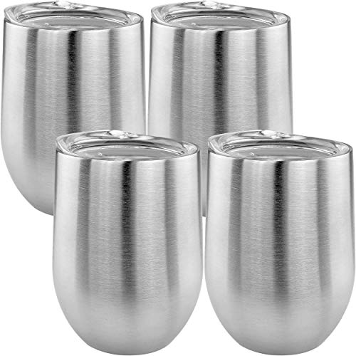 Stainless Stemless Double Wall Wine Glass, Set of 4