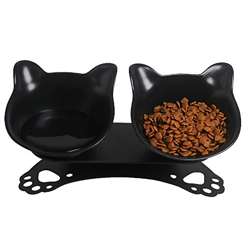 SKRTUAN Katzen Futternapf,Futternapf Katze, Doppelte Katzennäpfe mit erhöhtem Ständer, 15 ° geneigte Plattform, Katzenpfotenform Basis,Doppelnapf Reduzieren Sie Nackenschmerzen für Katzen