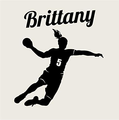 Wuyyii 73X76 Cm Handball Player Wandtattoo Benutzerdefinierte Mädchen Name Und Nummer Wandaufkleber Personalisierte Vinyl Aufkleber Dekor Dekoration