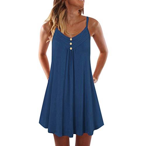 WOZOW Robe Droite sans Manches à Bretelles Fines Et pour Femme Femme,col V Boutons Plier Mini Shirt Casual Ete Plage Débardeur Simple(Bleu,XL)