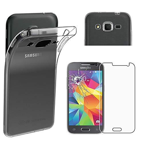 ebestStar - Funda Compatible con Samsung Galaxy Core Prime SM-G360F, 4G SM-G361F VE Carcasa Silicona, Protección Claro Ultra Slim, Transparente + Cristal Templado [Aparato: 130.8x67.9x8.8mm, 4.5'']