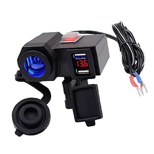 Runfon Motocicleta Dual USB TELÉFONO Cargador 12V Amplia Amplia Adaptador de Corriente Zócalo Encendedor