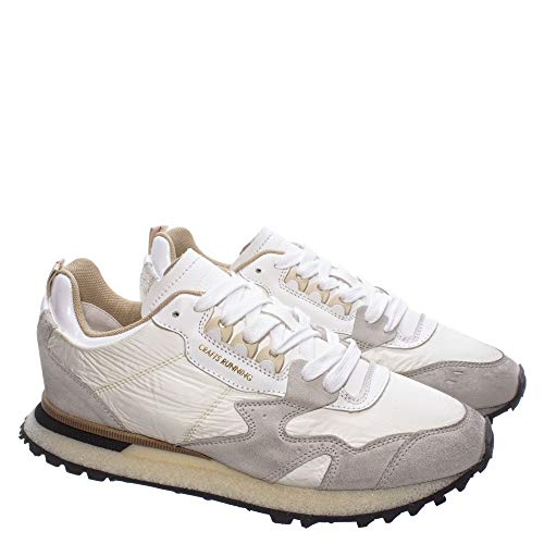 MOMA Herren Sneakers 4AW199-CR Crafts Ivory Leder Wildlder Fabric Grau