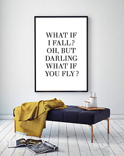 Tr674gs Farmhouse Frame Wood Sign, What If I Fall, Oh But Darling What If You Fly Quote Poem Print, 8 x 12 Inch Rustic Wood Sign