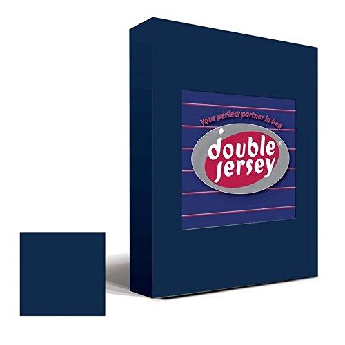 Double Jersey – Spannbettlaken 100% Baumwolle Jersey-Stretch bettlaken, Ultra Weich und Bügelfrei mit bis zu 30cm Stehghöhe, 160x200x30 Marineblau - 2