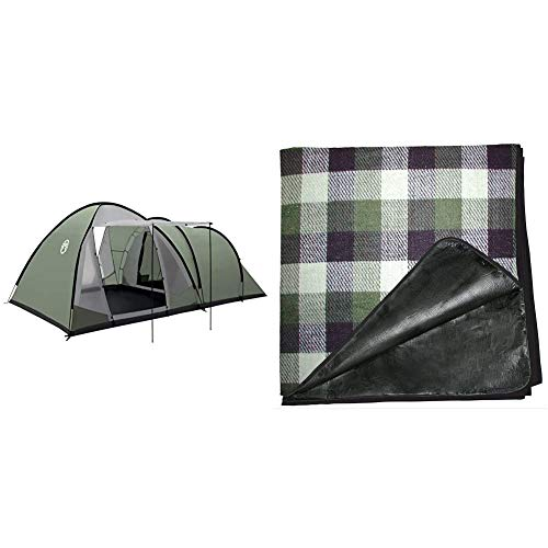 Coleman Waterfall 5 Deluxe family tent, 5 Man Tent with Separate Living and Sleeping Area, Easy to Pitch, 5 Person Tent, 100 Percent Waterproof HH 3000 mm, One Size & Tent Carpet 230 x 230 cm