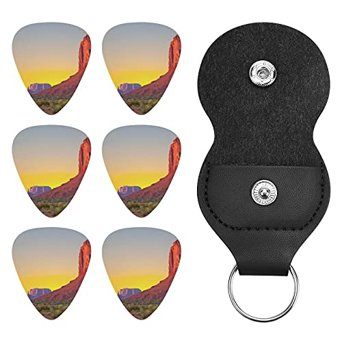 Guitar Picks 6pcs with Storage Bag,Sunset in Famous Grand Canyon Archaic Natural Wonders of World Heritage ,Offers A Warm, Round Music Tone,0.71mm