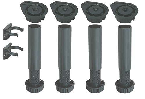 Juego de patas de plástico para armario, aparador, altura regulable de 150 a 180 mm, patas y bases, para zócalo, clip de fijación, para cocina o baño, 4 unidades, negro