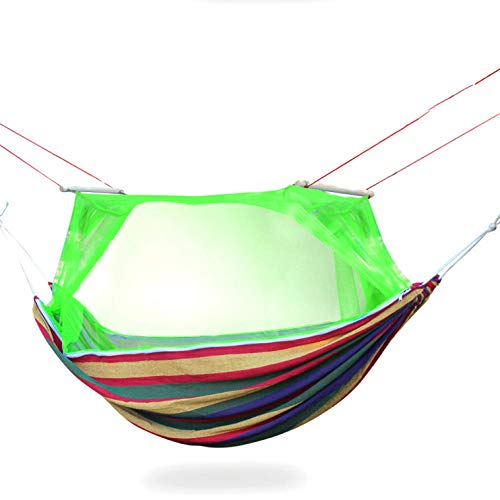 HUANXI PortableDoubleHaven Tent Hammock with Storage Bag + Strap,300kg Load Capacity (210x150cm) Green Hanging Rope Hammock for Outdoor Travel Camping Sleeping and Rest