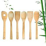 Kuou Set di 6 utensili da cucina in legno di bambù, facili da pulire, spatola in legno di bambù