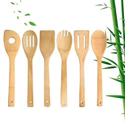 Kuou - Juego de utensilios de cocina de madera de bambú (6 piezas)