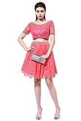 Rhinestones Short Sleeve Crewneck 2 Piece Pink Dress