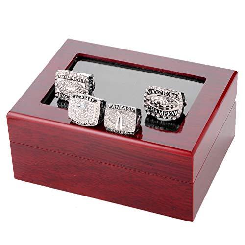 WANZIJING 4 Stück männlich Ringe Set, Fantasy Football Sport Fan Ringe Preis Silber Meisterschaft Ring mit Strass Grenze Größe 11 für Große Geburtstagsgeschenk