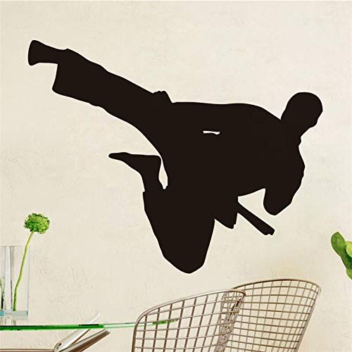 Chinese Flying Kung Fu Pattern Removable Wall Sticker Children's Bedroom Sports Room Wall Decoration Art Sticker Black 73cm X 58cm