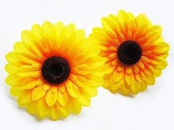 12  Big Silk Yellow Sunflowers Sun Flower Heads - 5.5  - Artificial Flowers Heads Fabric Floral Supplies Wholesale Lot for Wedding Flowers Accessories Make Bridal Hair Clips Headbands Dress