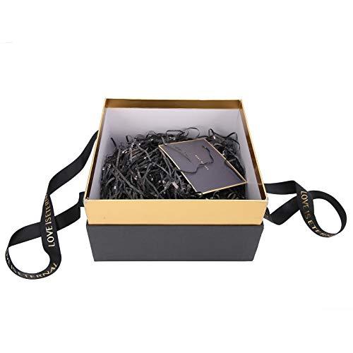 DAUERHAFT Color Opcional con Caja de Regalo de Hilo de luz pequeña Estuche de Regalo Excelente artesanía con Rafia para Perfume(Black (Package A))