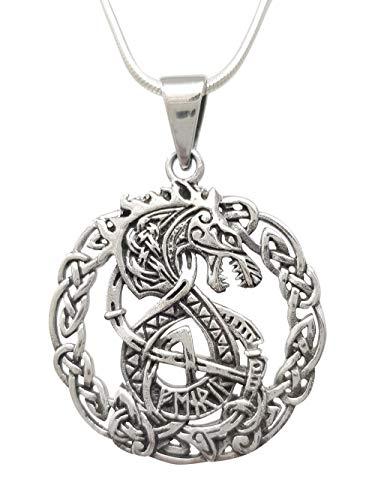 TreasureBay 925 Sterling zilver ingewikkelde Keltische stijl draak hanger op ketting