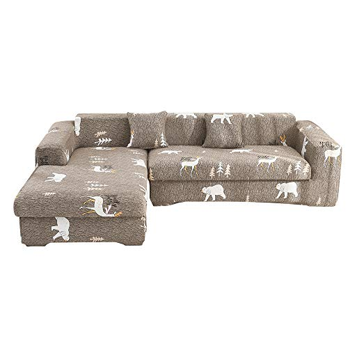 Hiser Funda Elástica de Sofá Universal Chaise Longue Fundas Protectora para Sofa contra Polvo en Forma de L 2 Piezas Extraíbles y Lavables Cubre Proteger (Oso Animal,4 Asientos + 3 Asientos)