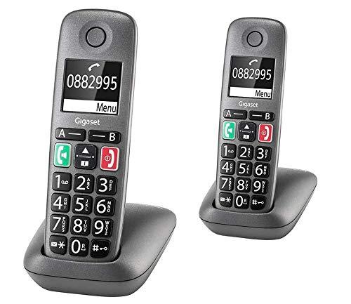 Gigaset Easy - 2 DECT-Telefon schnurlos für Router - Fritzbox, Speedport kompatibel - hörgerätekompatibel, anthrazit-grau