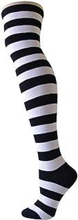 Kanggest. Calcetines a Rayas Largos Calcetines Altos de Rodilla de Puntos para Disfraz de Halloween y Vestido de Uso,Calcetines Lindos De Lana De Navidad-50cm(Blanco)