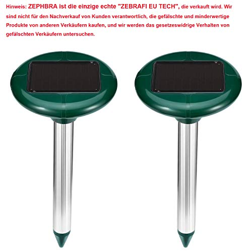 ZEPHBRA 2 Stück Solar Maulwurfabwehr,Ultrasonic Solar Maulwurfschreck,Mole Repellent, Maulwurfbekämpfung, Schädlingsbekämpfung mit IP56 für Den Garten (Grün)