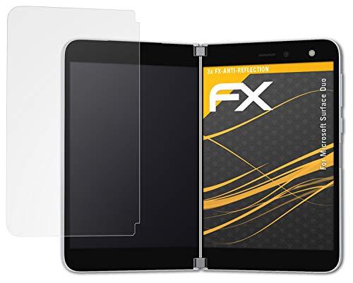 atFolix Panzerfolie kompatibel mit Microsoft Surface Duo Schutzfolie, entspiegelnde & stoßdämpfende FX Folie (3er Set)