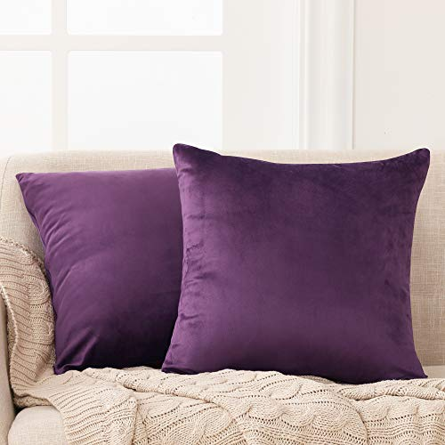 Deconovo Set of 2 Home Decoration Crushed Velvet Cushion Covers 45cm x 45cm 18x18 Inches Throw Pillow Cases Cushion Covers for Garden Chairs Purple
