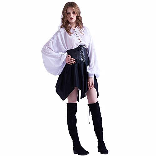 GRACEART vrouwen Steampunk Cosplay kostuum piraat shirt en rok Fancy jurk Outfit, XL, One Set (Shirt and Skirt)