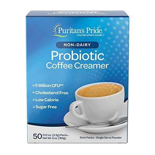 Probiotic Coffee Creamer by Puritan's Pride, Unflavored, Non-Dairy, Cholesterol + Sugar Free, 50 Packets