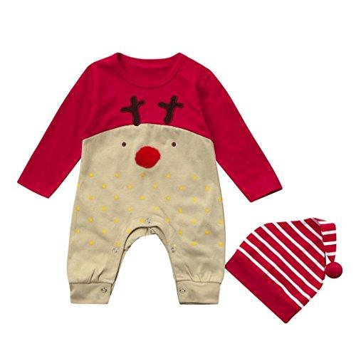 Lylita Neonato bambino cervo Natale ragazzi ragazze vestiti tuta + hat set Abiti