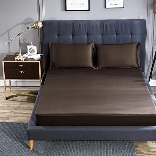 XLMHZP 60 sábanas Ajustables de algodón, Funda de colchón de algodón, Funda Completa, Transpirable, Doble King y Queen, Coffee_150 * 200 + 28cm (1pcs)