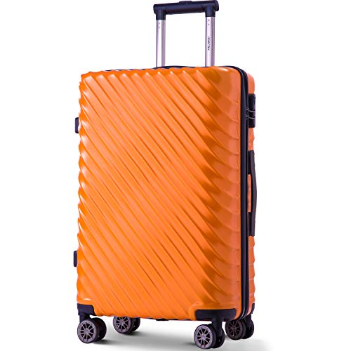 Merax Hard Luggage Lightweight Spinner Suitcases 4 Wheels Spinner Durable ABS+PC Trolley Travel Case with Lock (20/24/28/Set of 3) (M-24, Orange)