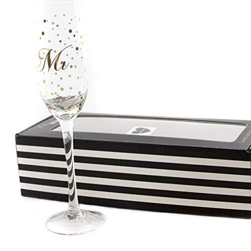 Sektglas Glas Hochzeit Mr. | knuellermarkt24.de | Mister Hochzeitsdeko Gläser Gold handgemacht Wein Sekt Champagner