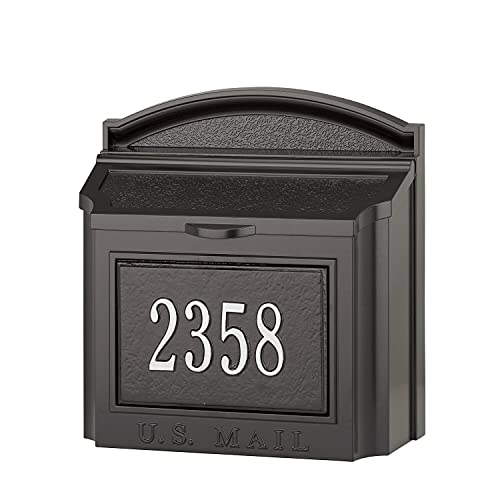 Whitehall Custom Wall Mount Mailbox Package - House Number and Street Name - Sand Cast Aluminum - Black Personalized in Silvertone