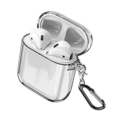 DLseego Compatible with Airpods Case,Clear Shockproof Airpods TPU Protective Cover with Keychain [Front LED Visible & Supports Wireless Charging] Accessrioes for Airpods 2 & 1 Case - Transparent by Dlseego