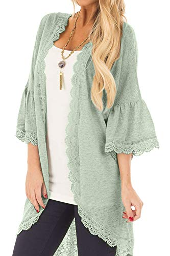 Women's Beach Sheer Lace 3/4 Bell Sleeve Cover Up Open Front Plain Summer Kimono Cardigan Green L