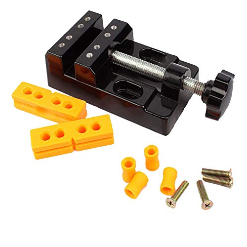 Mini tornillo de banco, alicates de punta plana multiusos de aleación de aluminio de 57 mm con juntas de bambú y alicates de amolar multiusos, perforación negra