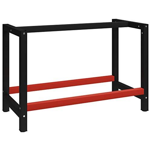 vidaXL Estructura de Banco de Trabajo Soporte de Mesa Taller Herramientas Garaje Moderno Duradera Resistencia Metal Negro y Rojo 120x57x79 cm