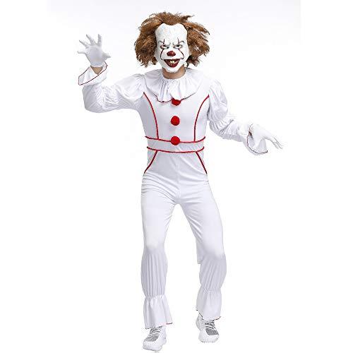 OUJIE Costumes De Clown Effrayants pour Hommes,Costumes d'horreur d'halloween,Décorations,Fêtes,Colliers,Gants,XL