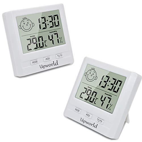 Upworld Hygrometer mit Uhr 2 Stück, Mini Thermometer Hygrometer Digital Inner/Außen Messgerät, Hygrometer Feuchtigkeit für Zuhause, Büro, Babyzimmer, und Mehr, Weiß(Batterie eingeschlossen)