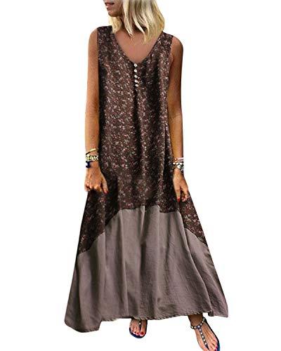 Kidsform Vestido largo de verano para mujer, vintage, sin mangas, retro, lino, algodón, talla grande, elegante marrón XL